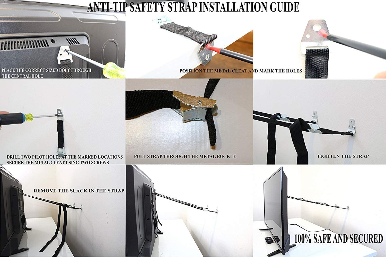y m/ás plata Boodon todo metal anclaje de seguridad para muebles de seguridad para pantallas planas gabinetes 2 correas antipuntas para TV y muebles sin piezas de pl/ástico estanter/ía aparador