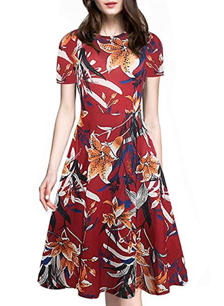 8bb9b804fcf Floral Casual Dress for Women Short Sleeve Summer Vintage Cocktail Dresses  with Pockets