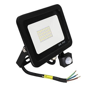 Popp Foco con Sensor Movimiento 30W Proyector LED Exterior Iluminación de Exterior Segura, Impermeable IP65