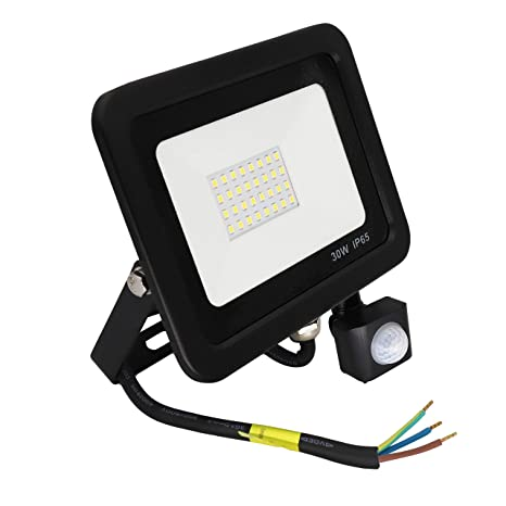 Poop Foco con Sensor Movimiento 30W Proyector LED Exterior Iluminación de Exterior Segura, Impermeable IP65