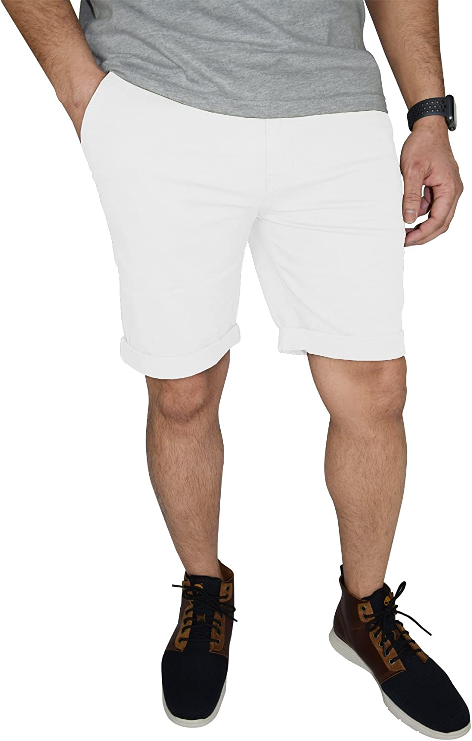 westAce Mens Stretch Chino Shorts Flat Front Slim Fit Spandex Half Pants
