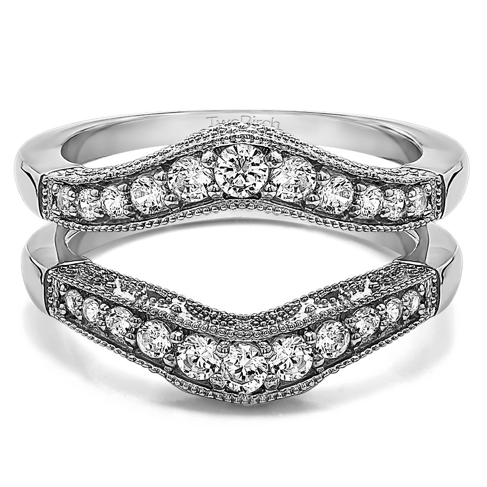 0.75 ct. Diamonds (G-H,I2-I3) Vintage Style Filigree and Milgraining Contour Ring Guard in 10k White Gold (3/4 ct. twt.) by TwoBirch