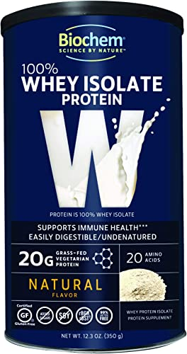 Biochem 100 Whey Isolate Protein – Natural Flavor – 12.3 oz – 20g of Protein – Pre Post Workout – Meal Replacement – Keto-Friendly – Easily Digestible – Silky Smooth Taste – Easy to Mix