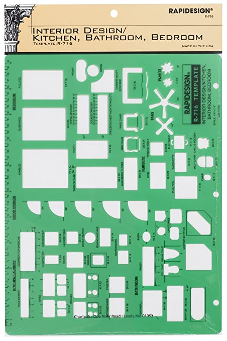 Rapidesign Interior Design Template For Kitchen/Bed/Bath, 1 Each (R716)