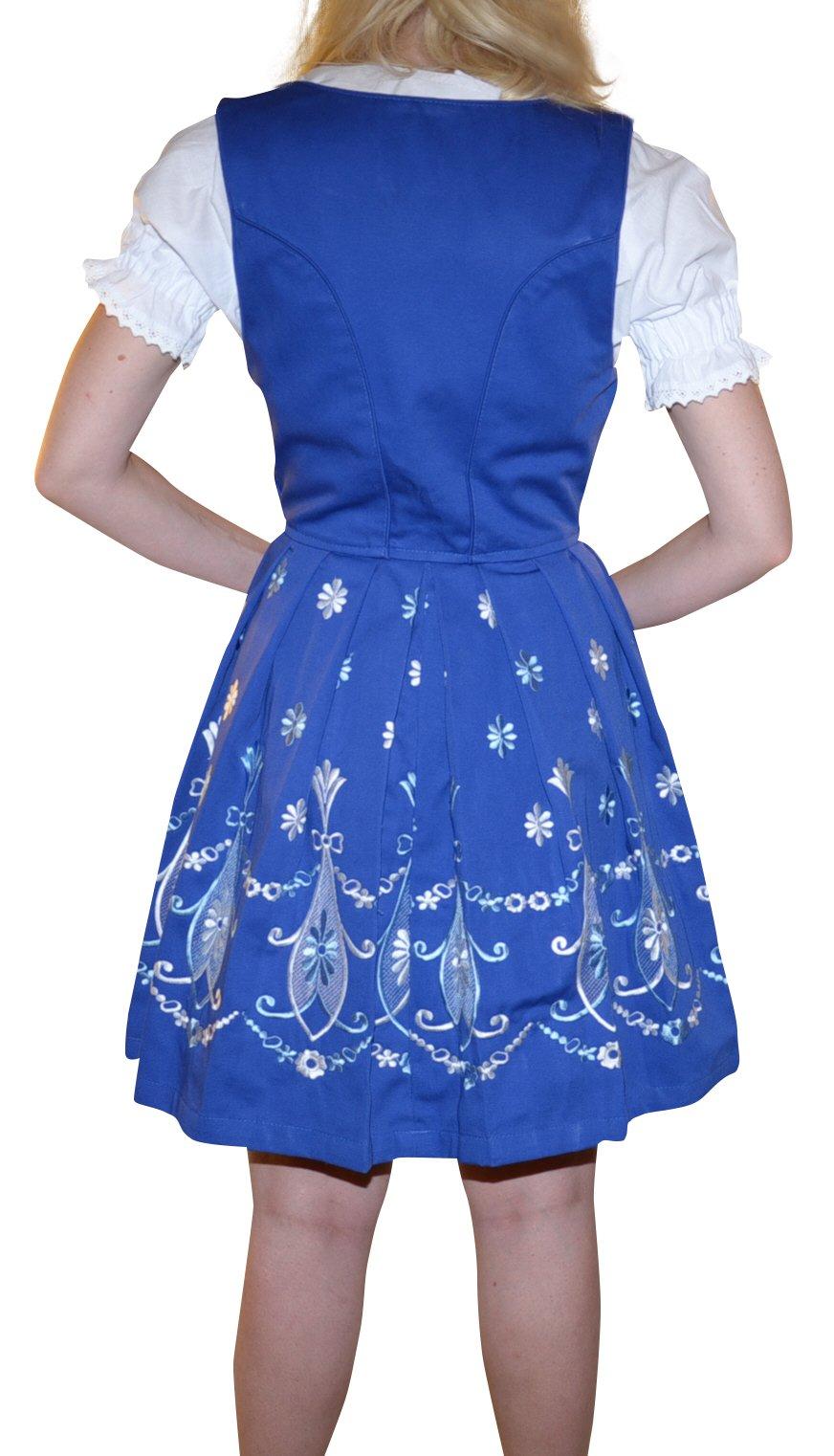 Dirndl Trachten Haus 3-piece Short German Wear Party Oktoberfest Waitress Dress 12 42 Blue by Dirndl Trachten Haus (Image #4)