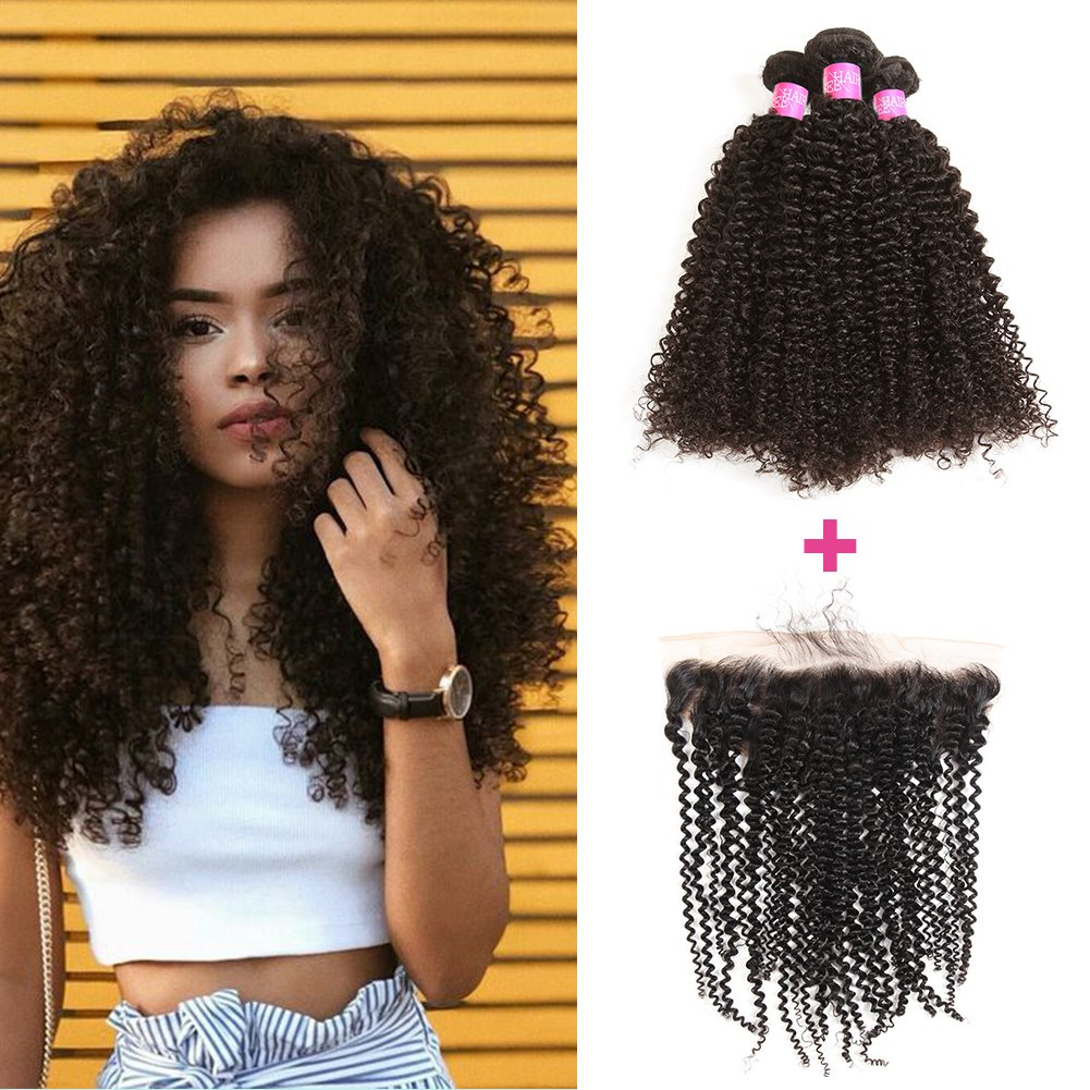 B07FMRV7R5 ISEE Hair 8A Brazilian Remy Virgin Hair Deep Curly Human Hair with 13x4 Frontal Brazilian Curly Hair Lace Frontal Closure with Bundles (16 18 20+14 frontal, Natural Color) 71SiwbvlqoL