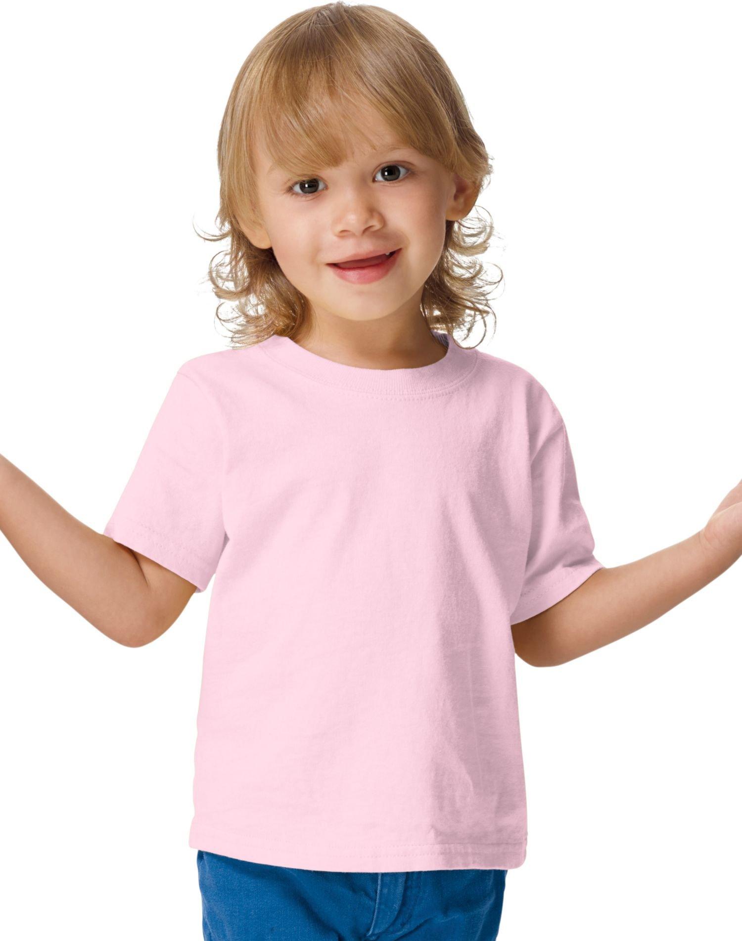 Hanes ComfortSoft Crewneck Toddler T-Shirt, Pale Pink, 4T