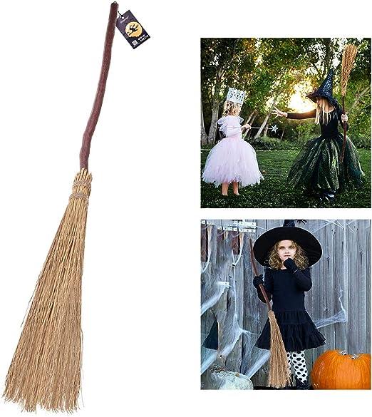 Unomor Escoba para Brujas de Halloween, 105 cm, diseño de Pajita ...