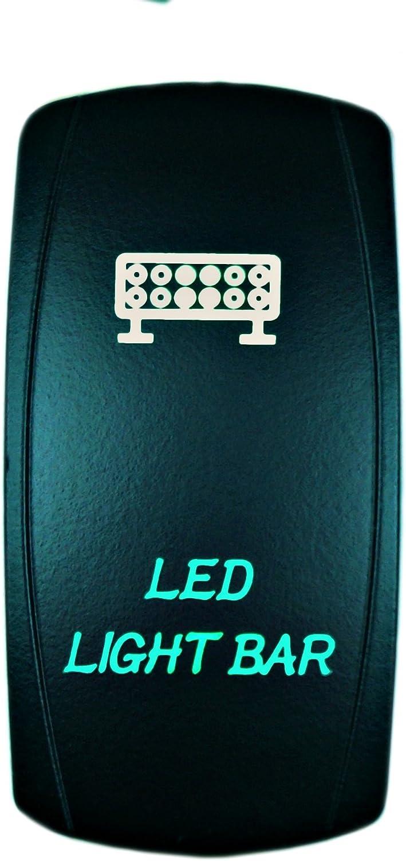 STVMotorsports 5 Pin Laser Rocker Switch LED LIGHT BAR On//Off LED Light 20A 12V Automotive UTV Green STV MOTORSPORTS®