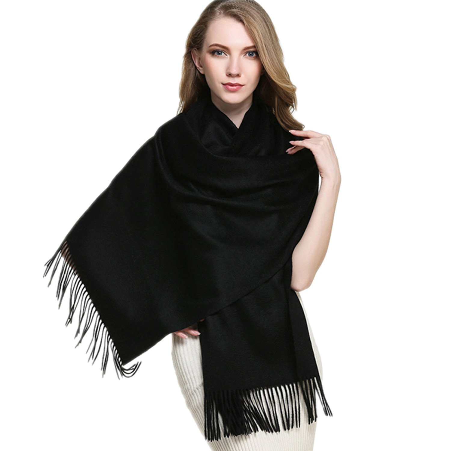 Saferin Extra Large 78'' X 28'' Women and Men Thick Solid Cashmere Wool Pashmina Wrap Shawl Scarf with Gift Box(1.black) by SAFERIN