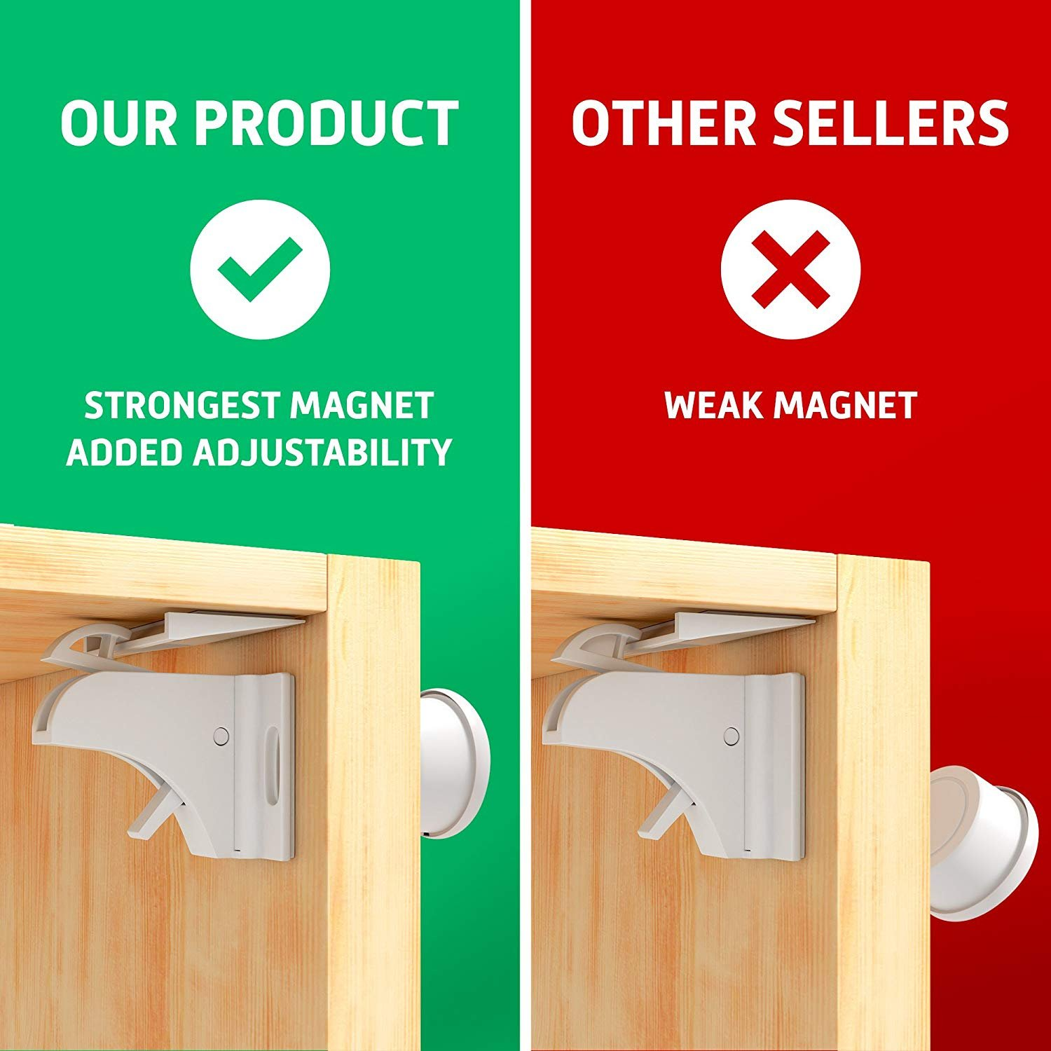 Child Safety Magnetic Cabinet Locks - Invisible Baby Proof Latch Set 8 Locks & 2 Keys Heavy Duty Locking System for Proofing Cabinets Drawers Doors Kitchen with 3M Adhesive (Tools aren't Required) by D-Panda-Safety (Image #3)