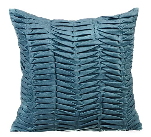 Diseñador azul gris fundas cojines, Con textura alforzas ...
