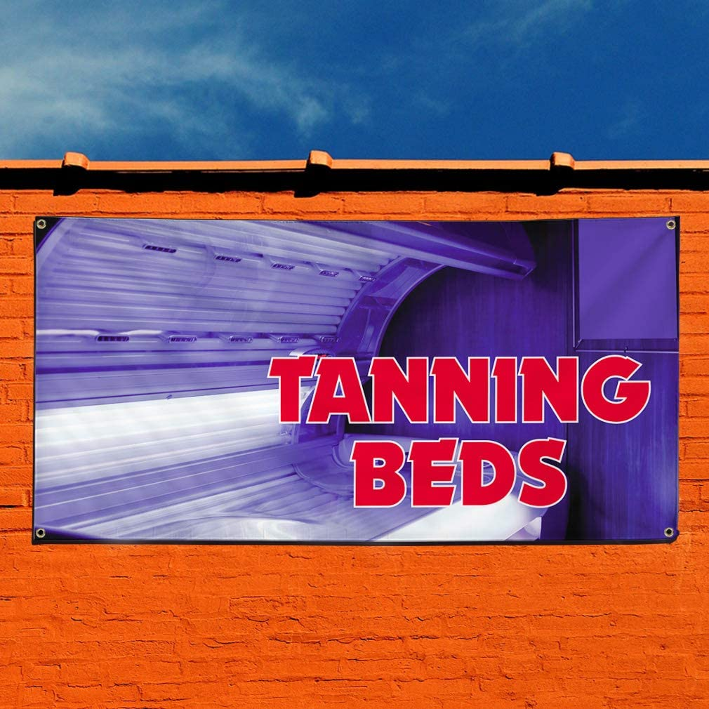 32inx80in Vinyl Banner Sign Tanning Beds #1 Style A Business Outdoor Marketing Advertising Blue Set of 2 6 Grommets Multiple Sizes Available