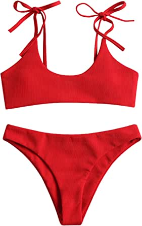 ZAFUL Women's Sexy Tie Shoulders Ribbed Bikini Set Padded Strap Triangle Swimsuit