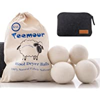 Wool Dryer Balls by Teemour Pack of 6 XL Organic Natural Fabric Softener Laundry Dryer Ball Bonus Pouch Free Gift