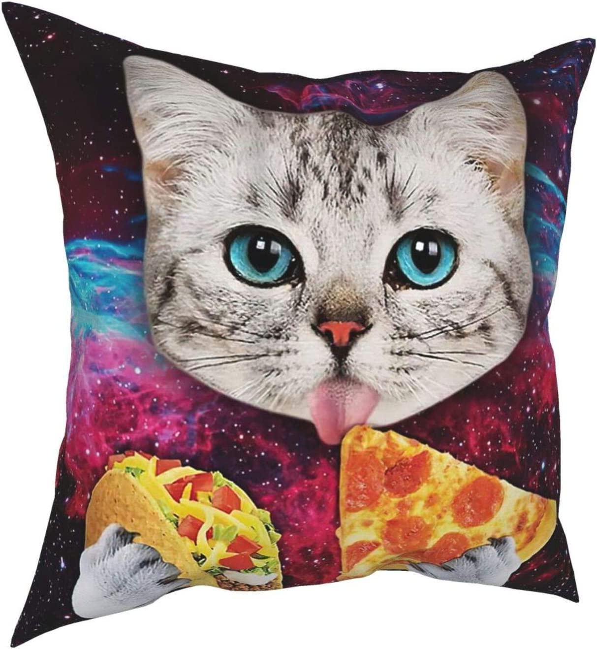 WAZHIJIA Space Cat Pizza Decorative Throw Pillow Covers 18 X 18 Inch,Food-Eating Animals in The Galaxy Cushion Cover Square Pillow Cases for Car Sofa Home Decor