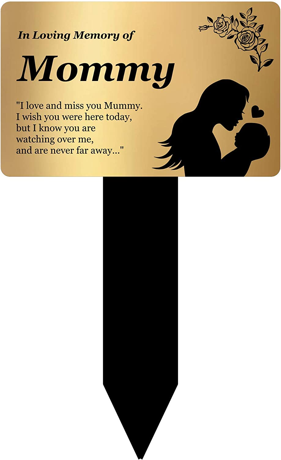 OriginDesigned in Loving Memory of Mommy - Engraved Memorial Stake with Poem and Illustration (Gold/Silver/Copper or Black & White Plaque) (Gold)