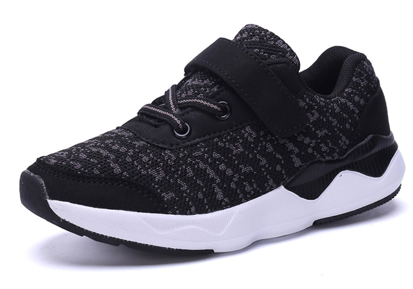 KARIDO Toddler Kids Lightweight Breathable Sneakers Athletic Running Shoes for Boys Girls A-Black 34