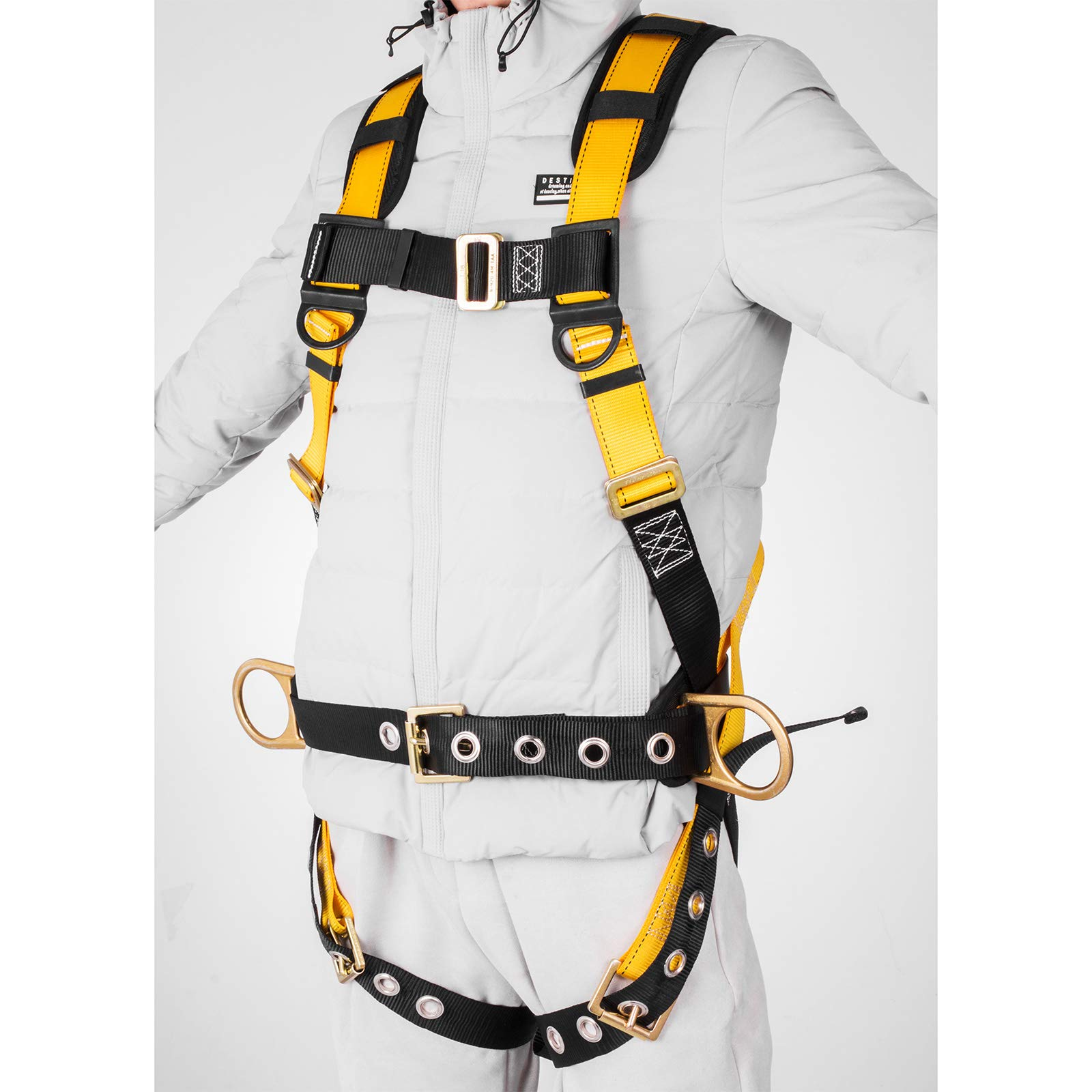 Happybuy Construction Safety Harness Fall Protection Full Body Safety Harness with 3 D-Rings,Belt and Additional Padding (Yellow with Belt) by Happybuy (Image #4)