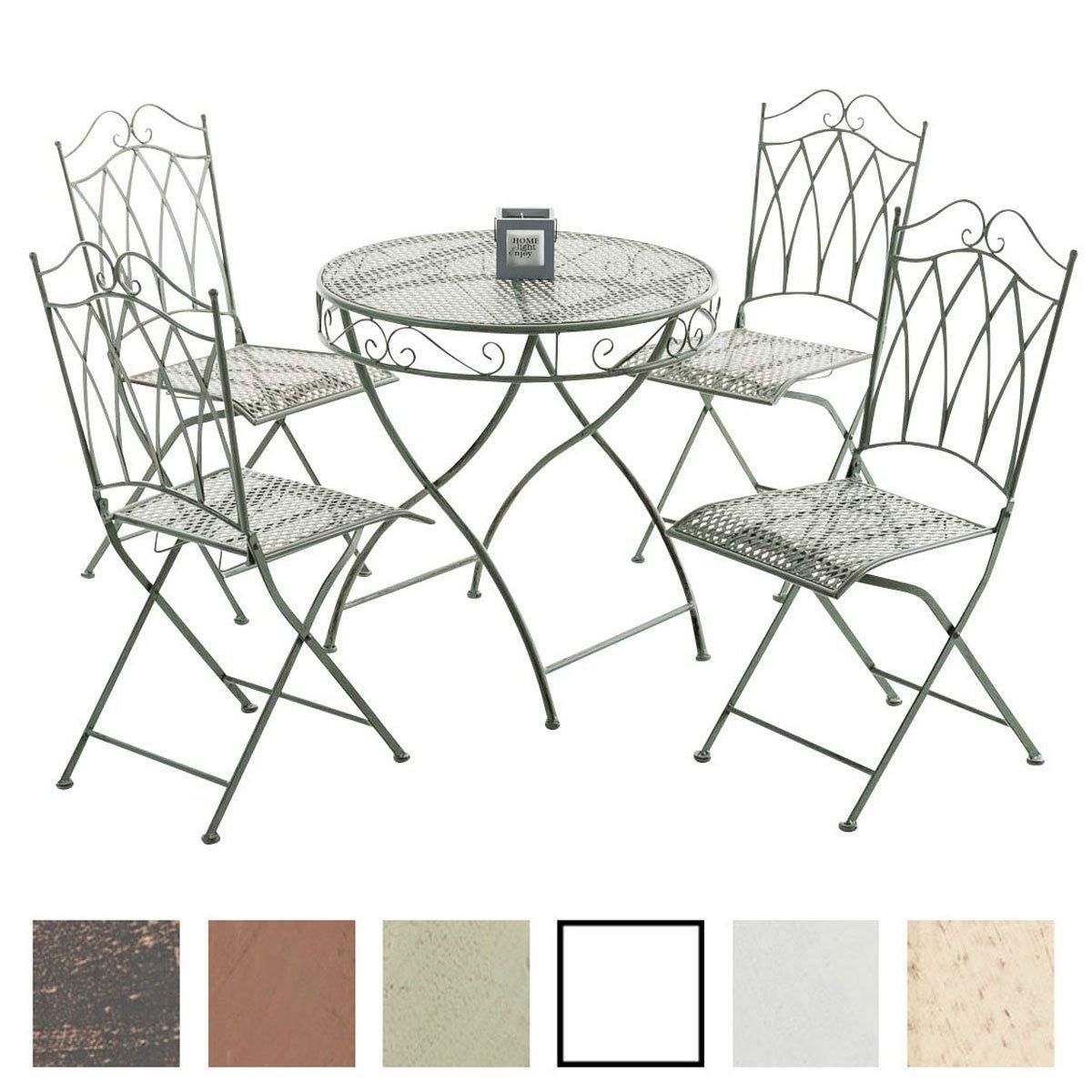 CLP Eisen-Möbel Set / Garten-Sitzgruppe LUNIS XXL: Tisch rund Ø 70 ...