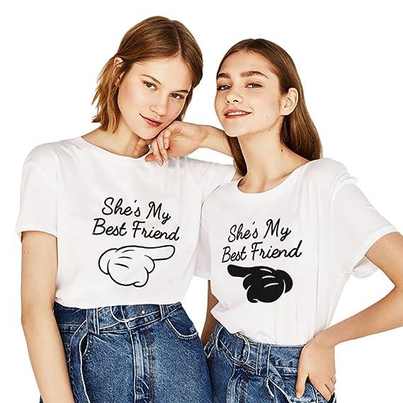 3f966d128b23a Best Friend T-Shirt pour 2 Fille Forever BFF Shirts Tee Shirt Imprimé She's  My Tops Hauts 2 Pièces Manches Courtes Femme Été