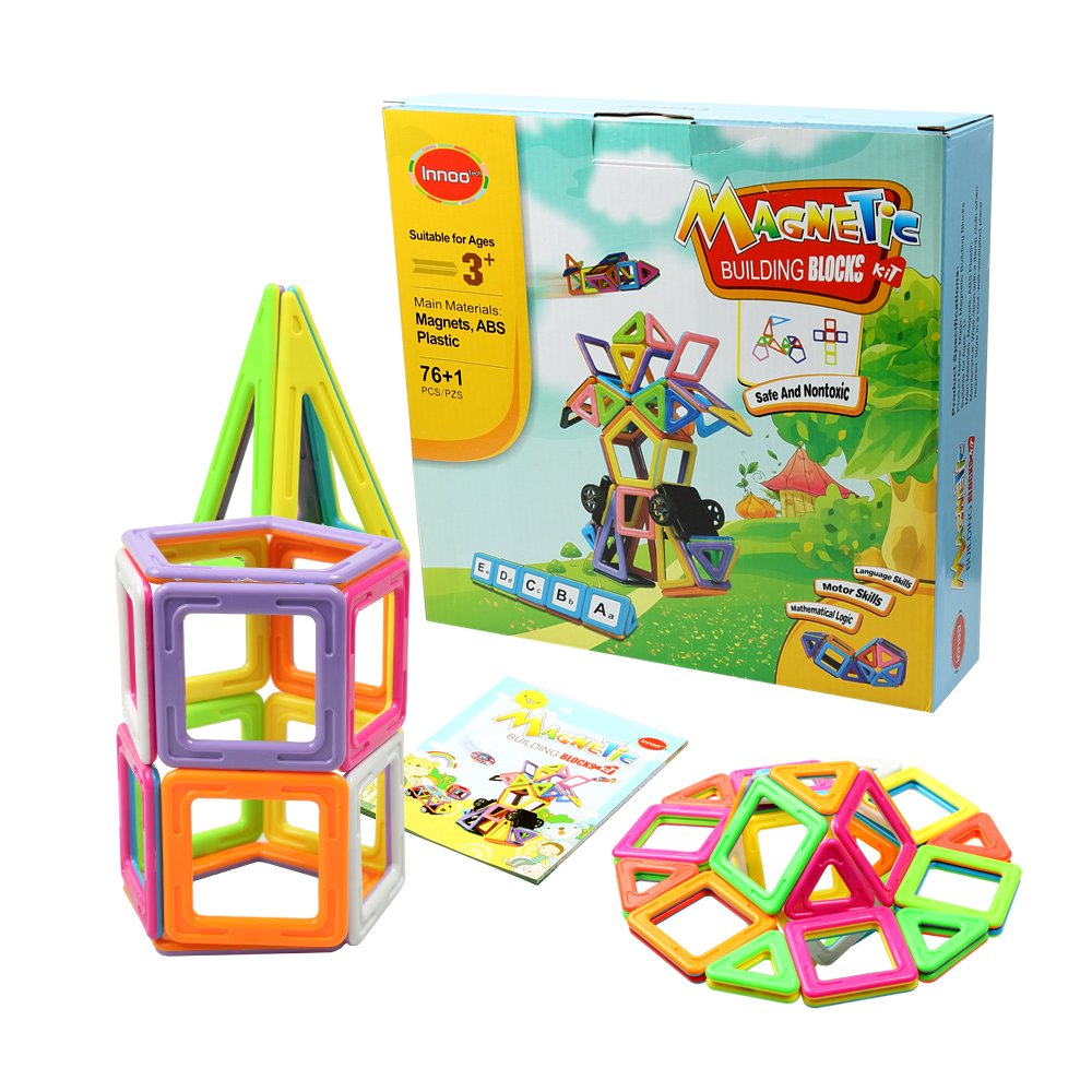 ABS-Kunststoff Konstruktion Stapeln Anleitung Booklet enthalten Toys Magnet Building Fliesen-Kits 76/+ 1/St/ück Innoo Tech Magnetische Bausteine Creative und lehrreiches Geschenk f/ür Kinder