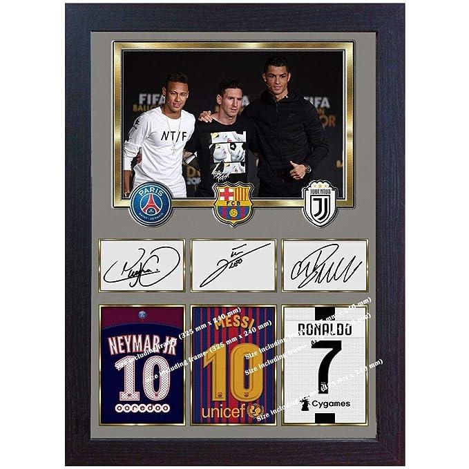 SGH SERVICES Gerahmtes Poster Neymar Messi Ronaldo Juventus Autogramm Foto Vordruck Foto Druck gerahmt MDF Rahmen Fotodruck #2