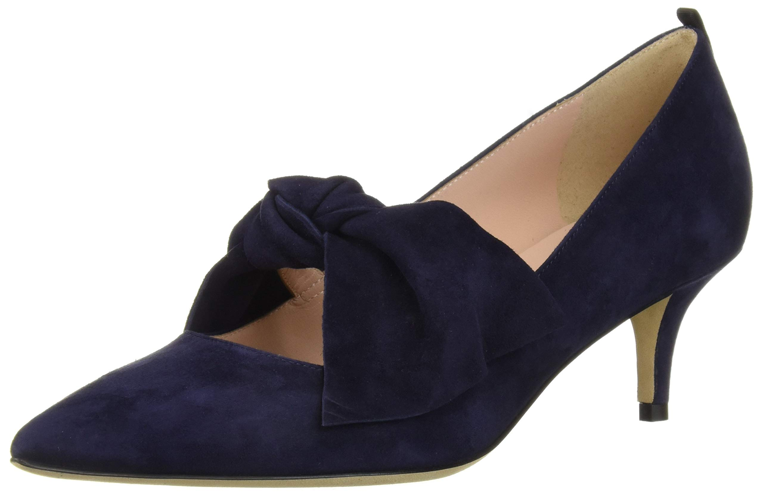 SJP by Sarah Jessica Parker Women's Roux 50 Pointed Toe Bow Strap Pump, Abyss Navy Sued, 39.5 B EU (9 US) by SJP by Sarah Jessica Parker