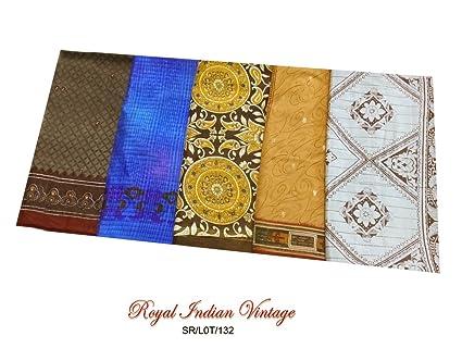Vintage Sari De 5 arte de costura Piezas porción al por mayor de seda de tela