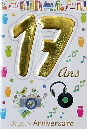 Age Mv 69 2017 Carte Joyeux Anniversaire 17 Ans Garçon Fille Jeune