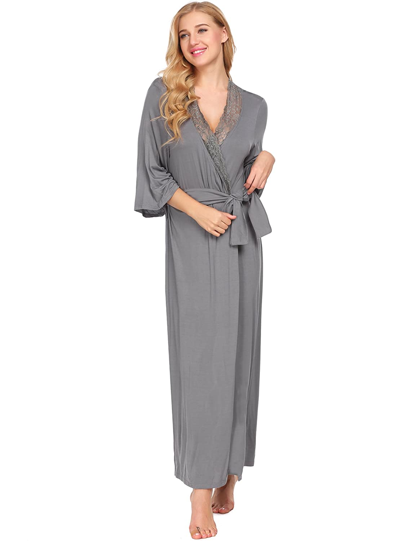 6b3a9ed310 Avidlove Womens Full Length Loungewear Soft Long Sleeve Bathrobe Lace Trim  Kimono *ALK008011