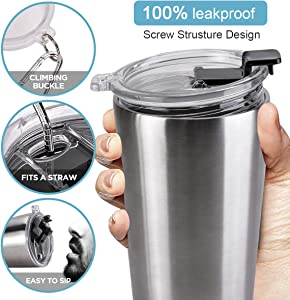 Travel Mug 20 oz Spill Proof Cup with Screw Lid Spill Proof Travel Coffee Mug Double Wall Stainless Steel Vacuum Insulated Tumbler with Straw