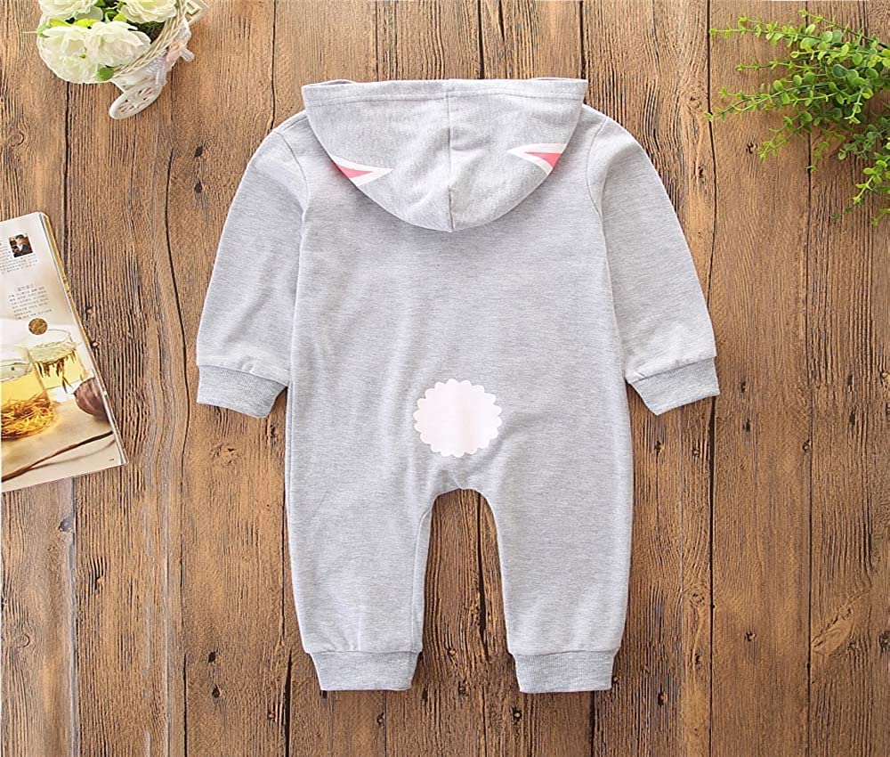FORESTIME Cute Toddler Baby Boys Girls One Piece Jumpsuit Winter Warm Adorable Cotton Rabbit Zipper Outfit Set Clothes