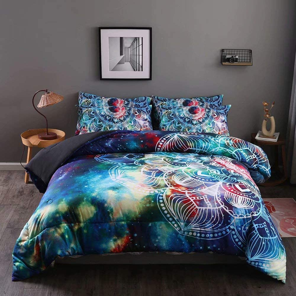 Abojoy Boho Chic Comforter Set Mandala Galaxy Bohemian Floral All Season Bedding Twin Size, 3D Printed Medallion Native Outer Space Decorative Blue 2 Piece Quilt Set with 1 Matching Pillow Sham