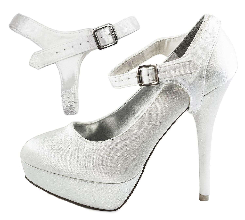 Sangles Satin Amovibles de plates Chaussure - Pour Blanc maintenir en place des chaussures à talons hauts laches, chaussures plates Blanc Satin e4d269a - boatplans.space
