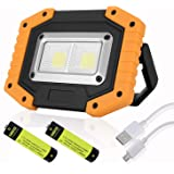 UNIKOO Rechargeable Work Light Flashlight COB 30W 1500LM, Waterproof LED Portable Flood Light for Outdoor Camping Hiking Emer
