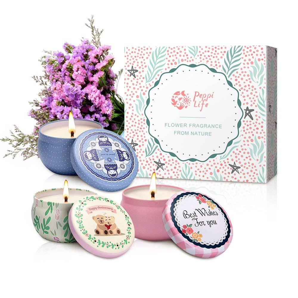 Peppi Life Scented Candles Set, Rose, Lavender Peach, 2.5oz Each 100% Soy Wax, Gift Stress Relief Aromatherapy, 3 Packs, Mini,10-15 Hours /1Pack by Peppi Life