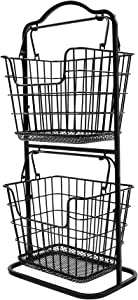 TIDY WISE SIMPLE ORGANIZING SOLUTIONS 2-Tier Countertop Mini Fruit Basket Storage Stand Organizer