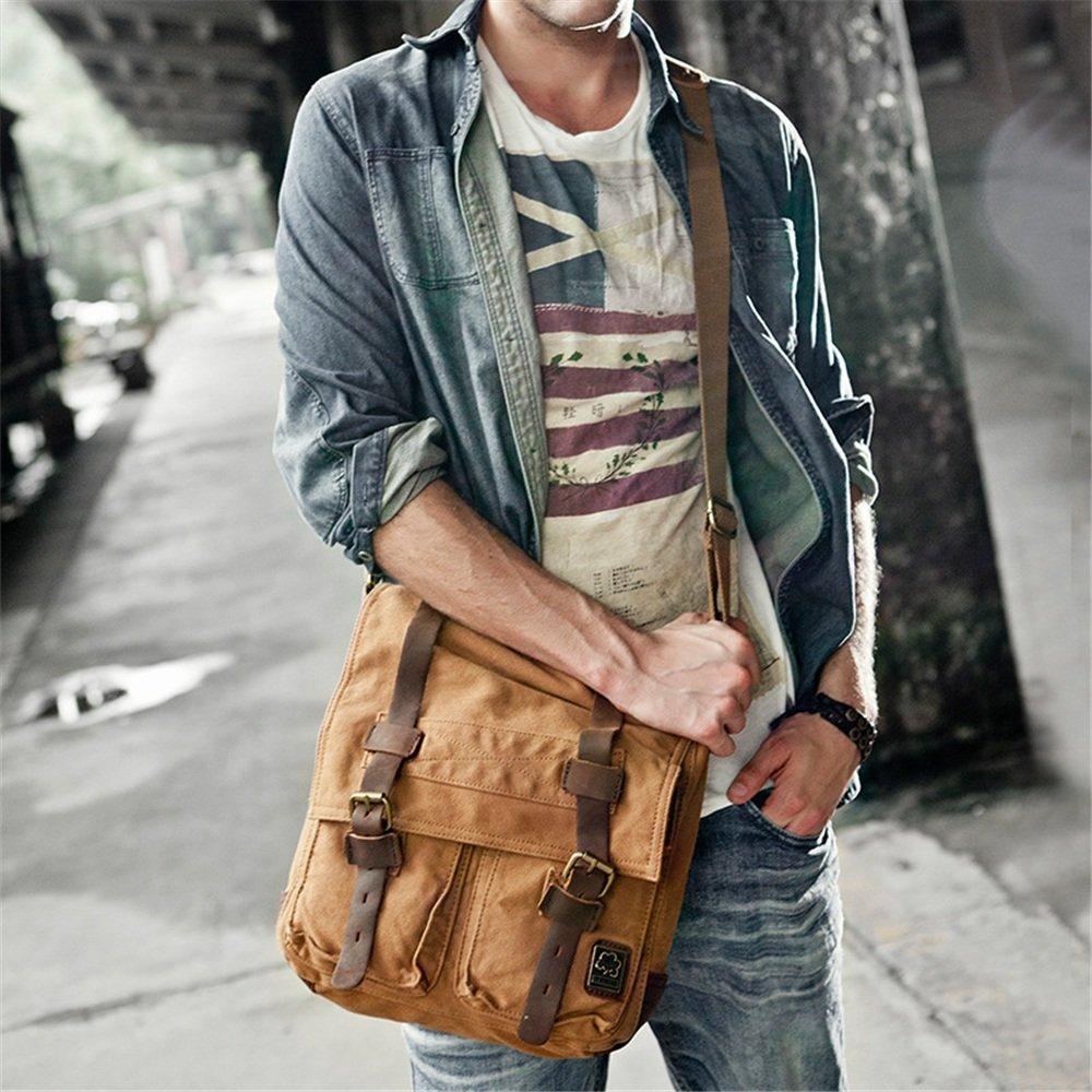 XFRJYKJ- Mens briefcase Men and Women Multi-Function Retro Canvas Shoulder Messenger Bag Shoulder Bag Notebook Briefcase Color : Army Green Multi-Color Optional 27x26x9.5cm