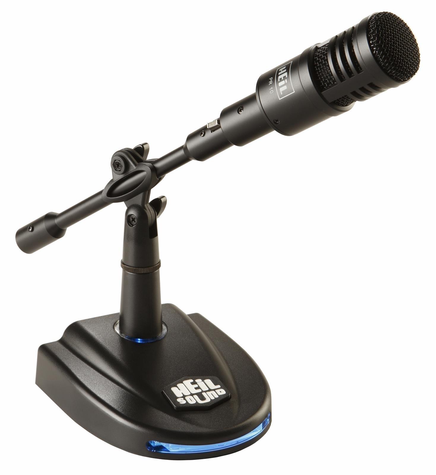 PR-10 PR10 Mic Package PR10PKG Original Heil Sound Dynamic Studio Microphone with LB-1 Lighted Base with PTT (3 Pin XLR)