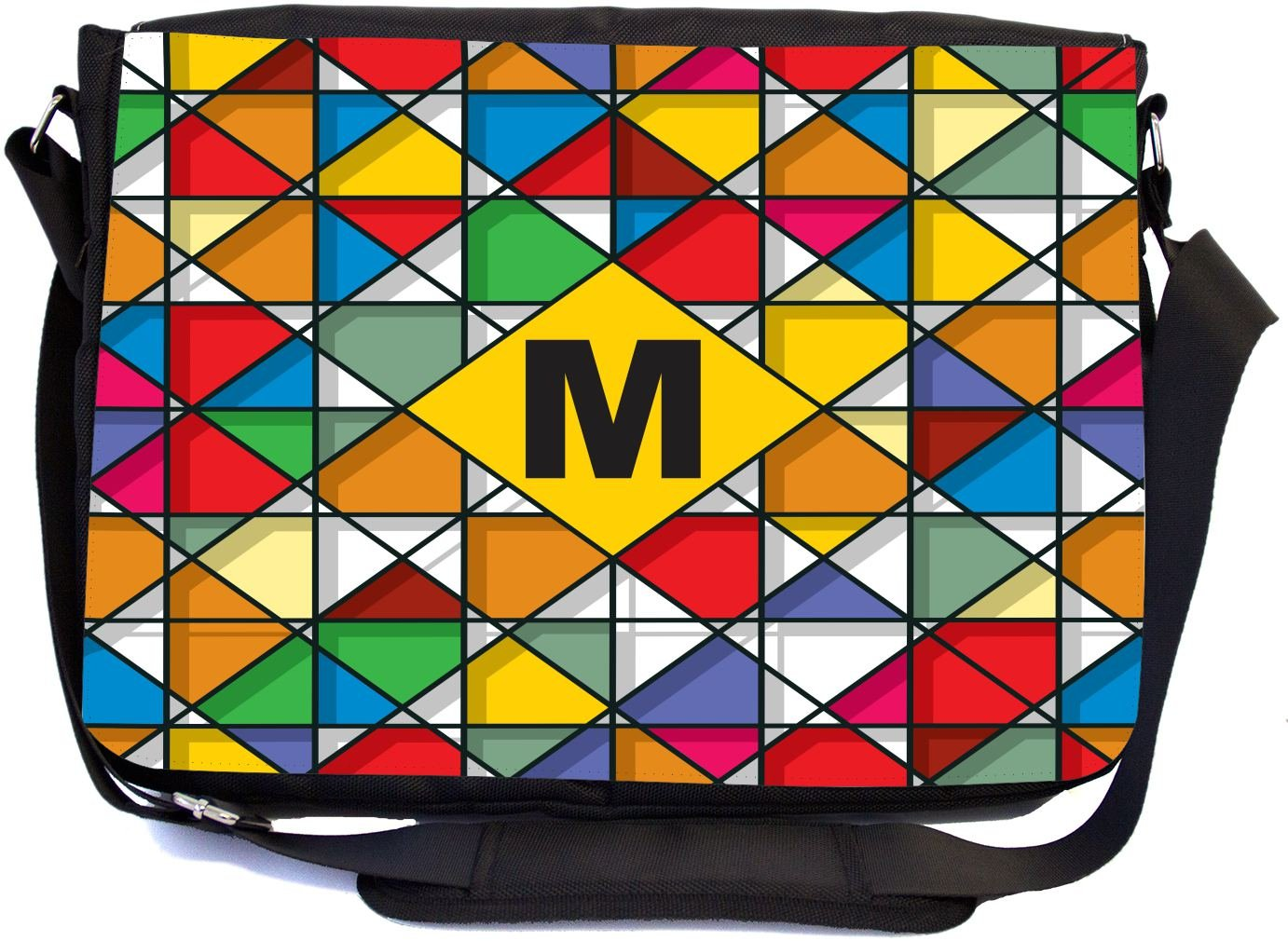 Rikki Knight Letter M Monogram Vibrant Colors Stained Glass Design Design Multifunctional Messenger Bag - School Bag - Laptop Bag - Includes Matching Compact Mirror