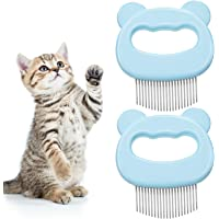 Cat Massage Comb WOVTE Pet Cat Dog Steel 2pcs Hair Grooming Shedding Cleaning Brush 2pcs Cat Lice Flea Combs Prevents Knots and Mats Fine Tooth Comb for Long and Short Haire