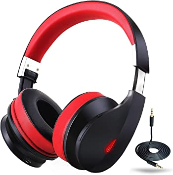 Amazon Com Wireless Bluetooth Headphones Over Ear Ausdom Ah2 1 Stereo Bass Foldable Wireless Wired Headsets With Microphone 20 Hrs Playtime Memory Foam 40mm Drivers For Pc Cell Phones Tv Electronics