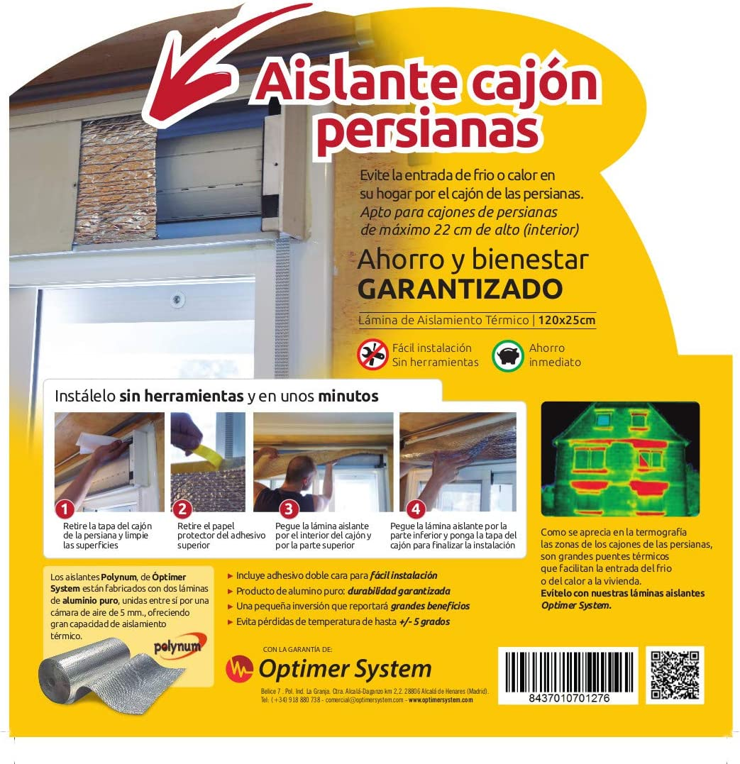 Aislante Cajon Persianas - 1,2 x 0,25 mts Optim Home - Polynum (Aluminio)