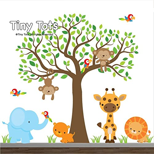 Amazing Jungle Wall Decals Animal Decals Elephant, Lion, Giraffe, Tiger, Parrot