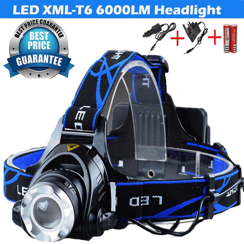 Lampe frontale rechargeable - 3modes - 6000 lm - Lampe torche LED CREE T6 - Idéal pour la course à pied, la marche, promener le chien, faire du camping, lire YAOYAO