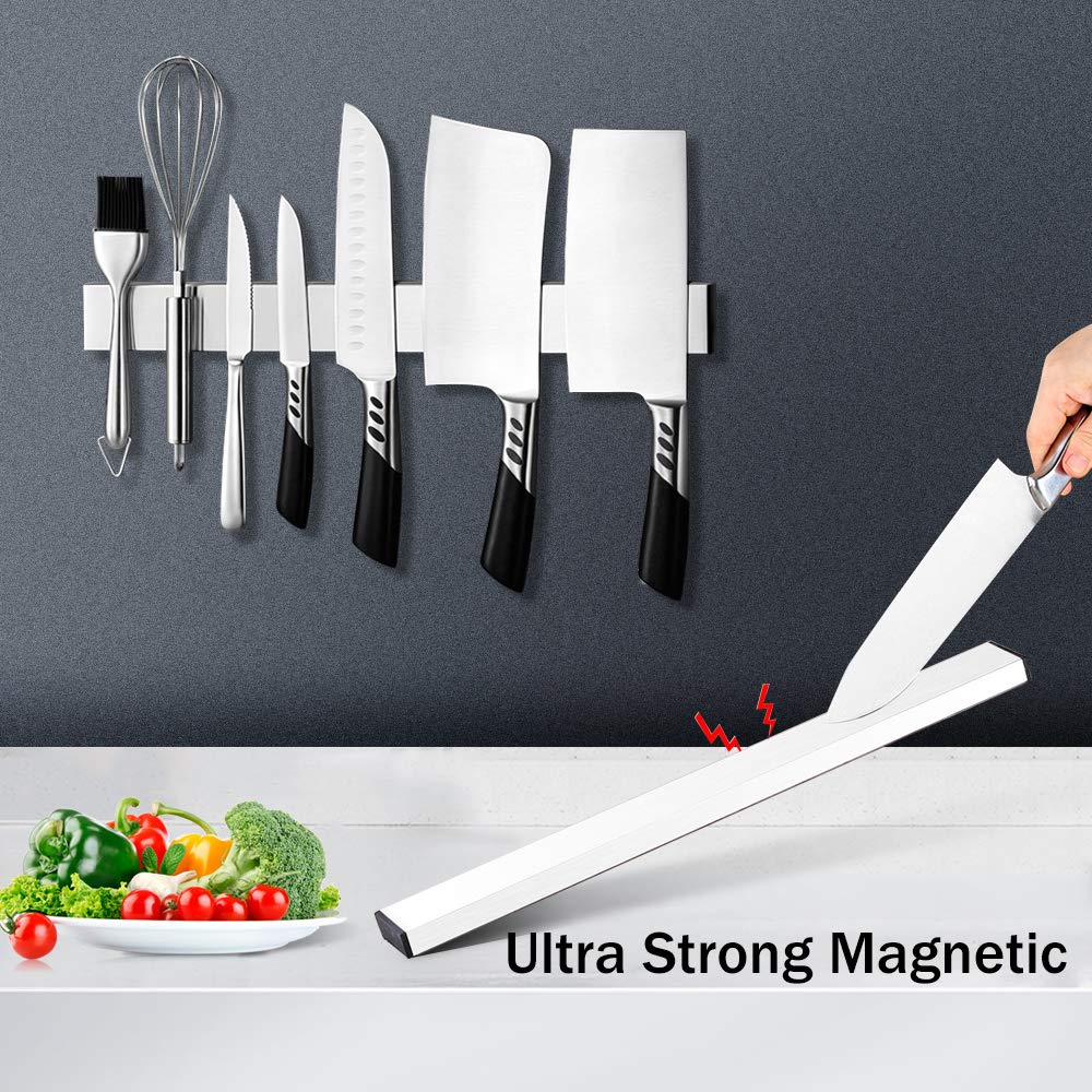 Magnetic Knife Strip, Villsure Stainless Steel Magnetic Knife Holder,Wall Mount Adhesive Magnetic Knife Rack Kitchen Utensil Holder, Tool Holder, Art Supply Organizer & Home Organizer by Villsure (Image #5)