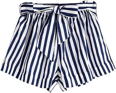 Femme Shorts à Rayures Chic, Kolylong ado Filles Short