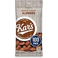 Kar's Nuts Roasted and Salted Almonds, 1 oz Individual Packs – Bulk Pack of 100, Gluten-Free Snacks (8971-CP100)