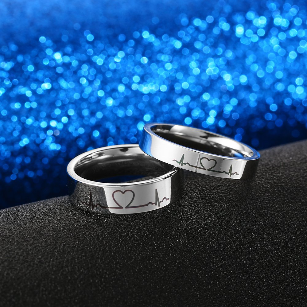 GAGAFEEL 4mm Men Women Wedding Ring Heartbeat Titanium High Polished Promise Band Rings Edge Comfort Fit (4mm, 7)